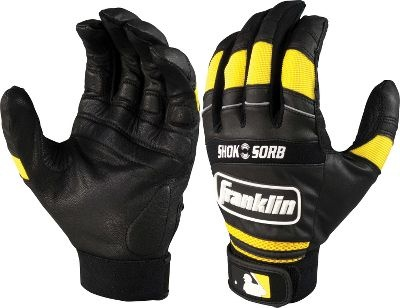 Franklin Adult Black/Yellow Shok-Sorb Batting Gloves - Men's Softball Batting Gloves
