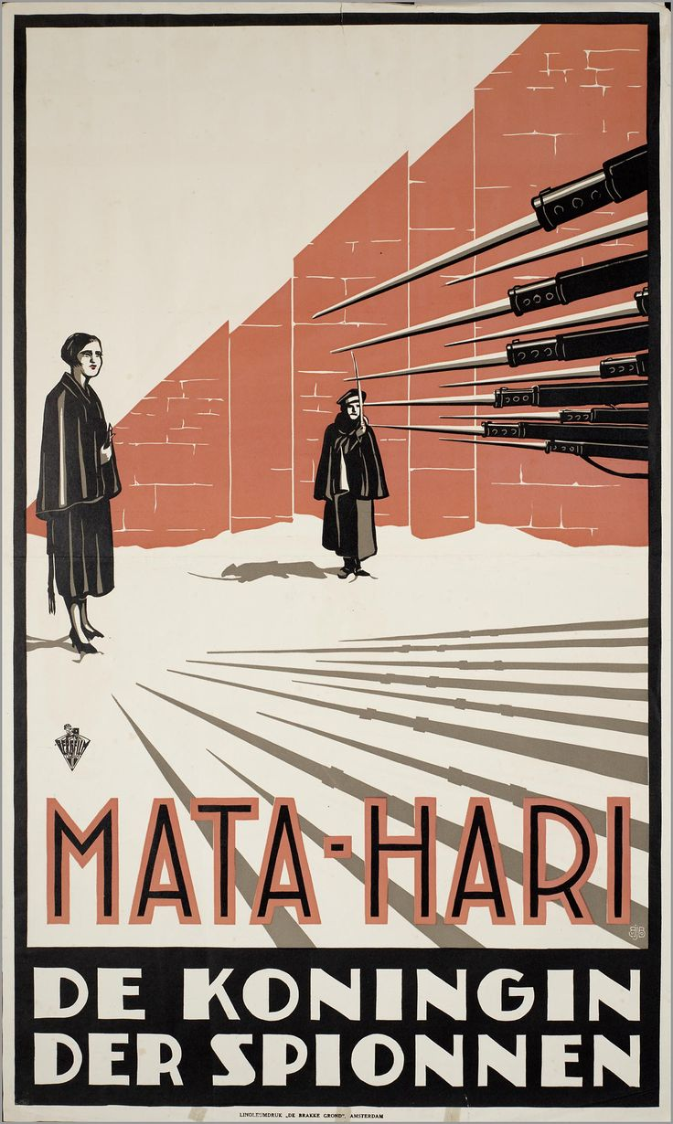 """Mata Hari, the Queen of Spies"" 1931 by George Fitzmaurice - Joop van den Berg (1897-1985) was a Dutch artist who illustrated various film, theatre, and public service posters"