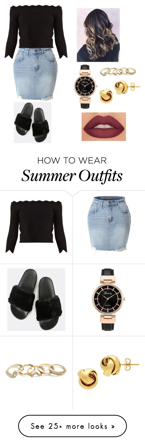 """""""Cute summer outfit"""" by jadedoming on Polyvore featuring LE3NO, Alexander McQueen, GUESS and Lord & Taylor"""