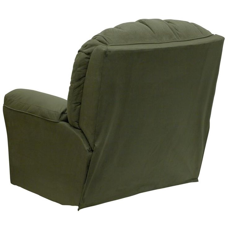 Microfiber contemporary styling rocker recliner sage light olive colored microfiber upholstery - Stylish rocker recliner ...
