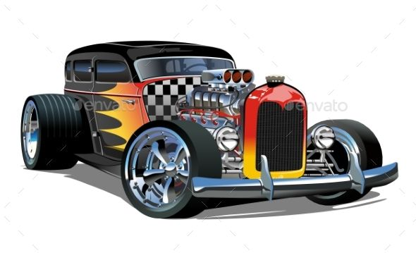 Cartoon Retro Hot Rod Isolated On White Background Retro Hot Rod