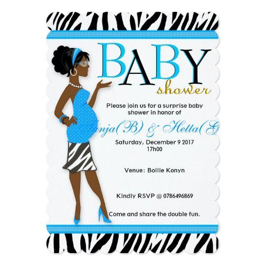 Chic Glam Modern Mom Blue Zebra Baby Shower Card