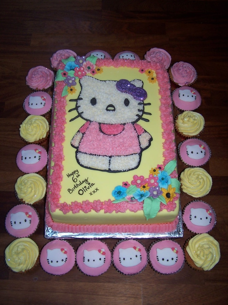 Hello Kitty giant birthday cake and matching cup cakes