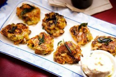 Winter vegetable fritters with mascarpone and fried sage