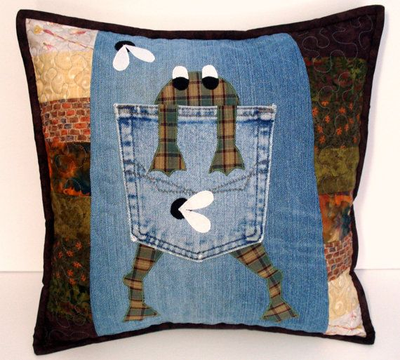 Green Plaid Hungry Frog Denim Pillow by BackPocketDesign on Etsy, $55.00