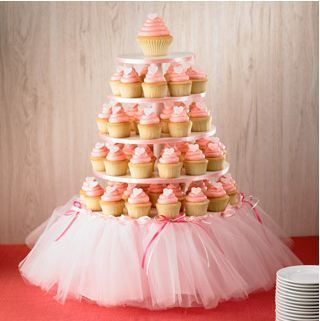 Good Way to dress up a cupcake stand….girl baby shower Or princess/ballerina birthday party… this could be cute even without cupcakes. …could even serve veggies or anything else on the platters. Maybe one on a stand like this, one for the punch bowl, etc