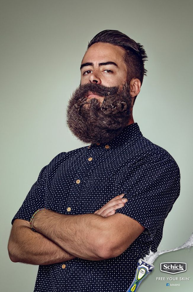 Overgrown Beards Are Like Wild Animals Clinging to Your Face, Schick Ads Say | Adweek