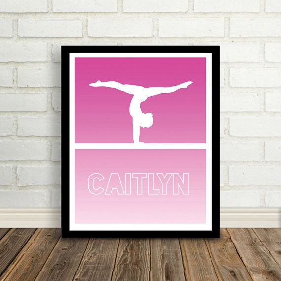 Gymnastics Personalized Print, Gymnast Poster, Ombre Gymnastics Printable, Tumbling, Gymnastics, Gymnastic Decor, Modern, Girls Room Art