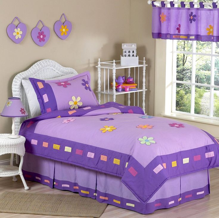 Purple Bedding for Girls Twin or Full/Queen Kids Comforter Sets -Colorful Floral Daisy