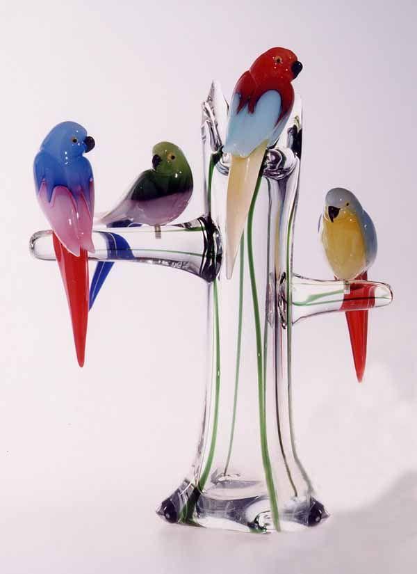 Murano (?) Glass Four Birds on a Branch Sculpturel