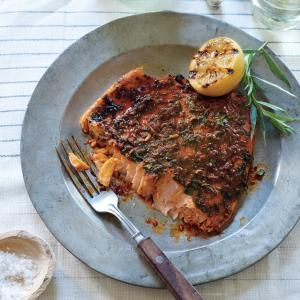 Pink Salmon with Smoky Herb Rub | MyRecipes.com Grilling the salmon with the skin on keeps it moist and ensures it stays in one piece as it cooks.