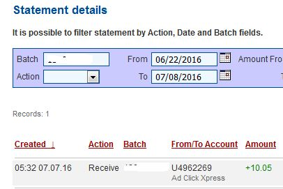 With the new changes , Adclickxpress is now the most stable site on the Internet. Invest in the best revshare -matrix online, get paid daily, withdraw 30% of your DSC daily, post your proof of payment to social networks, blogs and forums and earn even more. I am getting paid daily at ACX and here is proof of my withdrawal. This is not a scam and I love making money online with Ad Click Xpress.