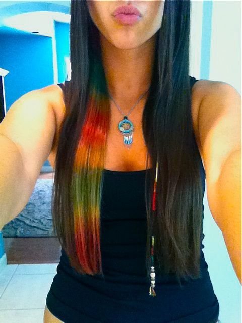 dark hair with rainbow splash IN LOVE WITH THIS!!