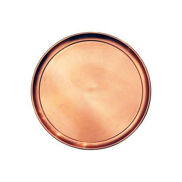 Large Round Mid-Century Modern Copper Tray - Image 1 of 7