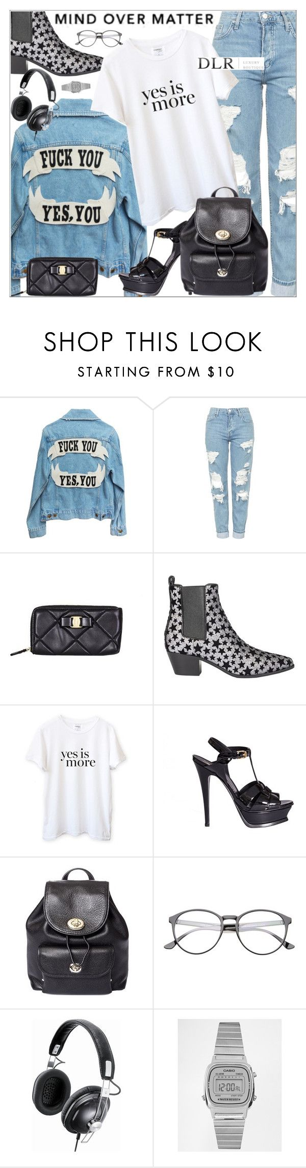 """""""DLRBOUTIQUE.COM"""" by mirachu-1 on Polyvore featuring Topshop, Salvatore Ferragamo, Yves Saint Laurent, Sincerely, Jules, Coach, Panasonic and Casio"""
