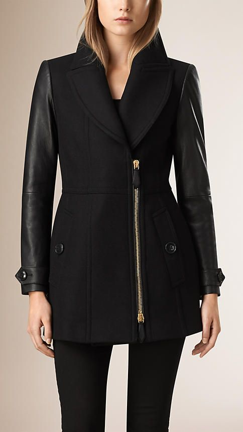 Burberry Black Wool Cashmere Pea Coat with Lambskin Sleeves - $1, 595