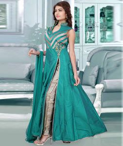 Buy Sea Green Taffeta Silk Readymade Anarkali Suit 72139 online at lowest price from huge collection of salwar kameez at Indianclothstore.com.