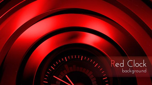 Red Clock Abstract Clock Motion UltraHD Back, Daily Design Background