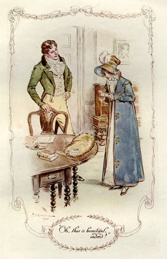 """""""Oh, this is beautiful, indeed!"""" Illustration by C.E. Brock. In her guest post for """"An Invitation to Mansfield Park,"""" Margaret Horwitz writes about the necklaces Fanny Price receives from Edmund Bertram and Mary Crawford. http://sarahemsley.com/2014/10/17/the-comfort-of-friendship/"""