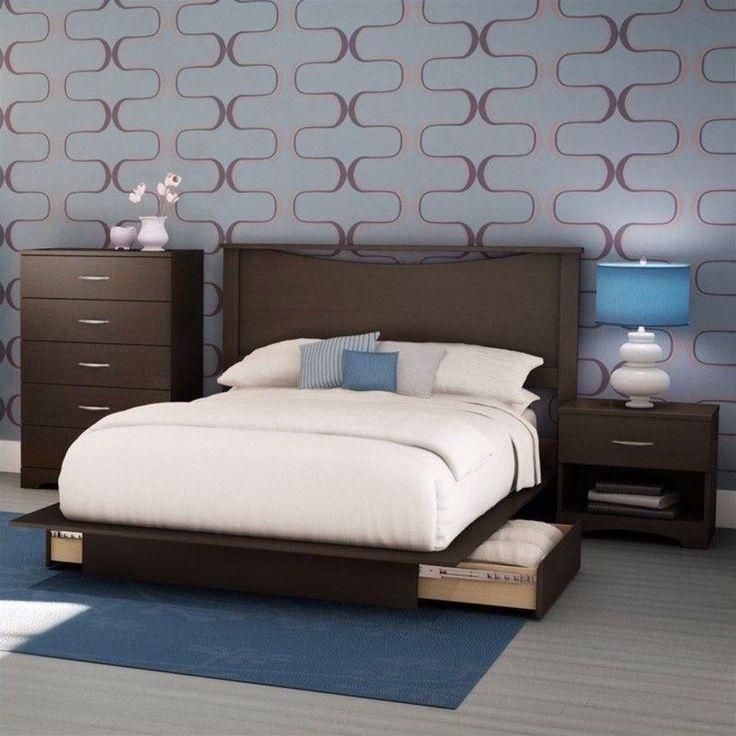 Queen Size Platform Bed 4 Piece Bedroom Set Wood Nightstand Storage Furniture  #BedroomSet4 #Contemporary