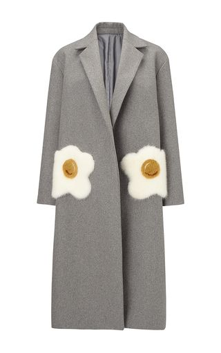 Oversized Coat Eggs In Light Grey Wool With  Mink Trim by ANYA HINDMARCH for Preorder on Moda Operandi