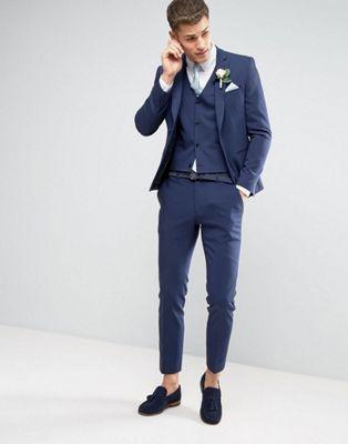ASOS WEDDING – Enger Anzug in Marineblau
