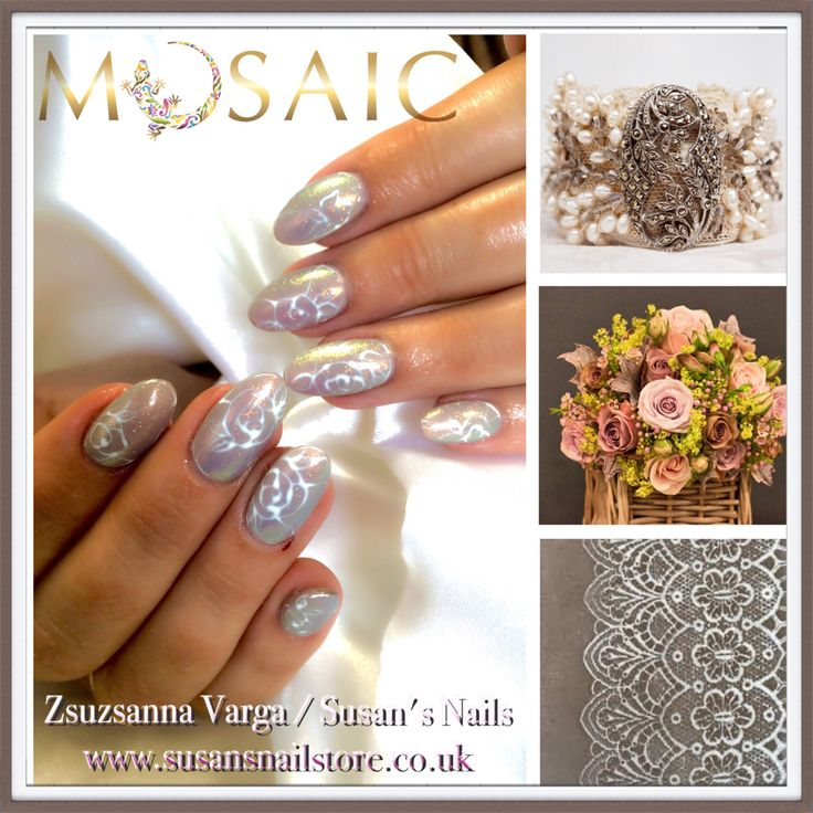 Michelle Horton for the wedding! Mermaid effect on #mosaic #uvlac with hand painted vintage white roses! Nails,products &training here www.susansnailstore.co.uk