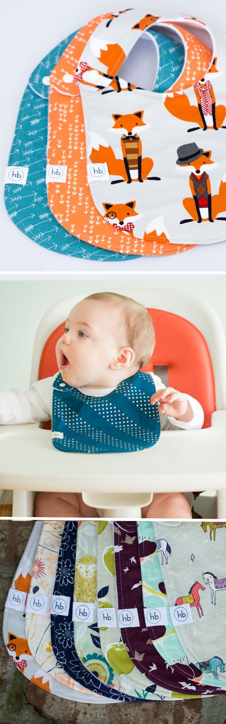 """Charlie Bib   Hemming Birds Boutique. Colorful, fun and machine washable! Made to be your """"go-to"""" bib and adorable for outings. Gender neutral plus designs for girls and boys. Thoughtfully designed with no velcro and side snap. Makes a perfect baby gift!"""