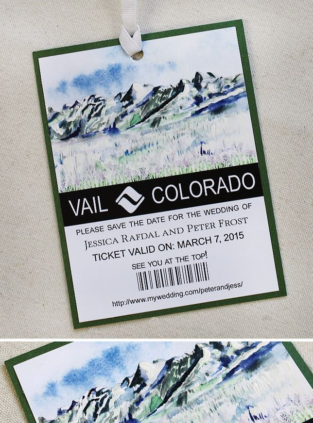 Vail ski pass save the date.  Clever!  #momentaldesigns  #handpainted  #savethedate  #watercolorwedding  #vailwedding  #skipasssavethedate
