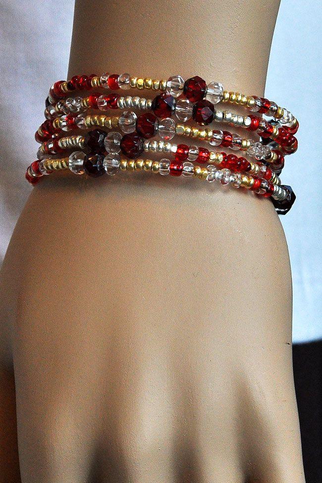 Beaded - Red - Gold - Bangle - Boho - Memory Wire Bracelet. $20.00, via Etsy.