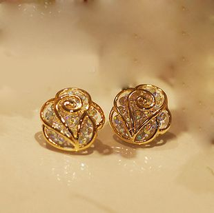 rhinestone rose earrings stud