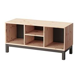 NORNÄS, Bench with storage compartments, pine, gray