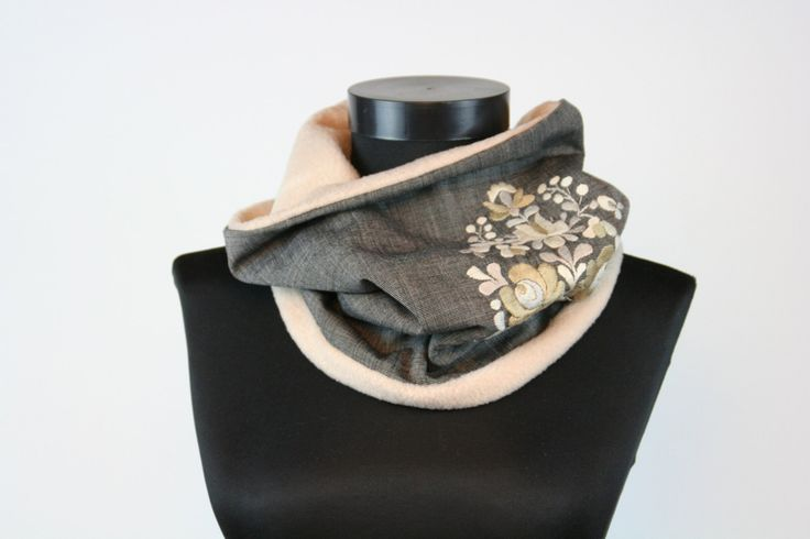 READY TO SHIP - Women tube scarf - cowl scarf - circle scarf - matyo embroidery - grey sand - weave - fleece lining - hand embroidered by MatyoKid on Etsy