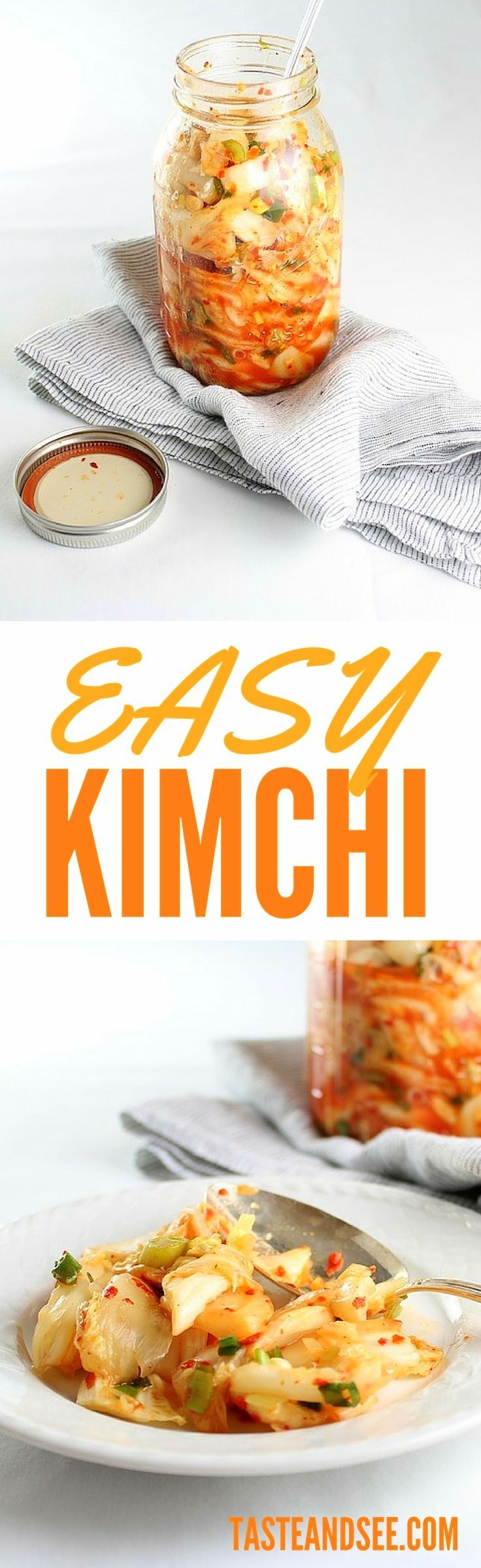 Easy Kimchi: a Korean side dish with scallions, ginger, & Napa cabbage, seasoned with red chili powder, crushed chili flakes, fish sauce, sugar, apple juice, red wine vinegar, and sesame! http://tasteandsee.com