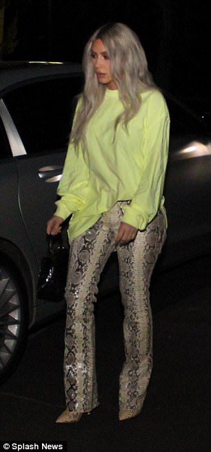 Wild!She also donned a pair of very distinctive snakeskin trousers which merged seamlessly with her matching boots