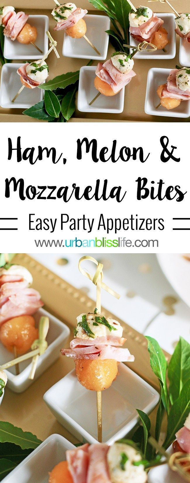 Ham, Melon, Mozarella Bites party appetizer is easy and elegant - perfect for any holiday party! AD Get the recipe: http://www.urbanblisslife.com/ham-melon-mozzarella-bites-appetizer-recipe/ #appetizers #snacks #melon #ham