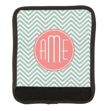 Mint and Coral Chevrons Custom Monogram Luggage Handle Wrap #monogram #luggage #travel #gifts