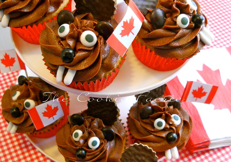 "Beaver Brigade! Maple Cupcakes with Chocolate Buttercream Frosting for ""I AM CANADIAN"" school day treats. By Robin Traversy {inspired by Pinterest!}"