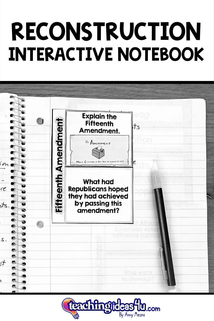 Reconstruction Interactive Notebook for U.S. History in ...