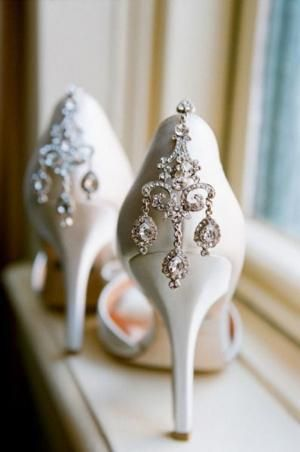 wedding shoes.   How about attaching some earrings to the backs of your shoes?