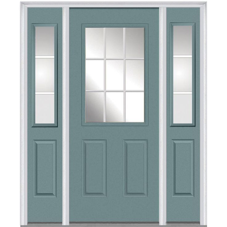 Milliken Millwork 68.5 in. x 81.75 in. Classic Clear Glass GBG 1/2 Lite 2 Panel Painted Majestic Steel Exterior Door with Sidelites, Riverway