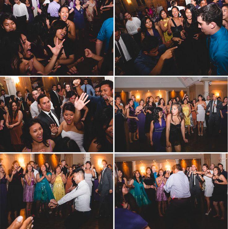 Liuna Gardens Wedding | people having fun at a wedding reception at Liuna Gardens by Toronto documentary wedding photographer