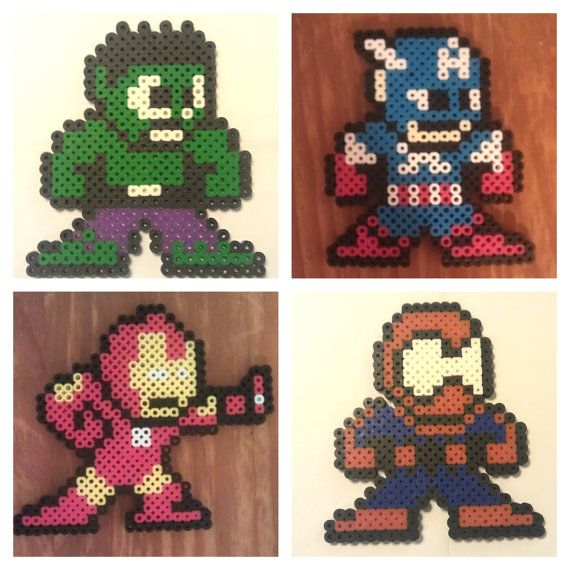 Marvel Comics characters perler beads by PiercingSilence
