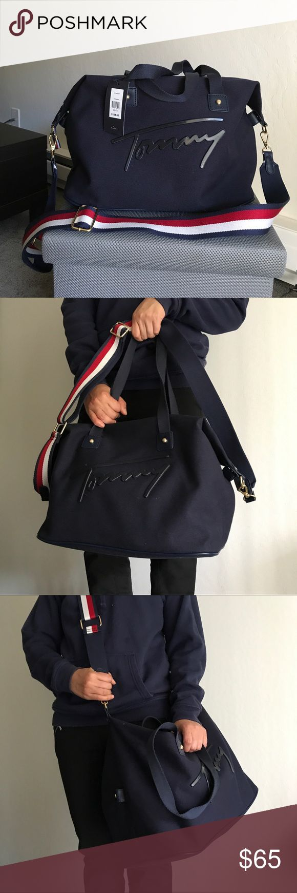 Tommy Hilfiger Duffle Weekender Gym Travel Bag 100% Authentic Tommy Hilfiger. In classic Tommy Hilfiger navy blue, red, and white colors. Unisex. Has gold colored hardware. Perfect for travel, gym, or weekend getaways. Tommy Hilfiger Bags