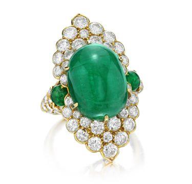 Van Cleef & Arpels. An Emerald and Diamond Ring, circa 1970.