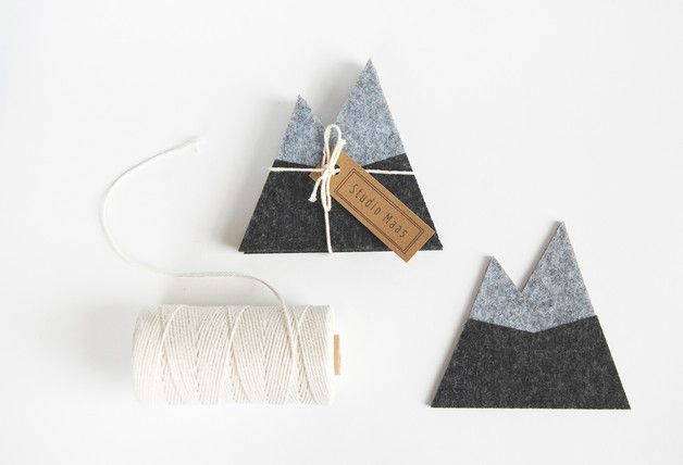 Perfect gift for travellers. Amazing Felted coasters, mountains, set of 4 – a unique product by StudioMaas via en.DaWanda.com