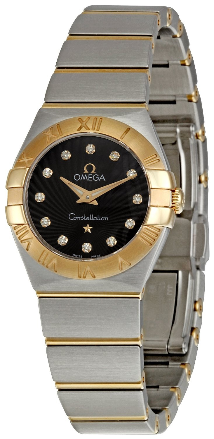 Omega Women's Constellation Brown Guilloche Dial Watch, (omega, omega constellation 126275, womens watches, beautiful omega constellation watch, beautiful piece, omega constellation)