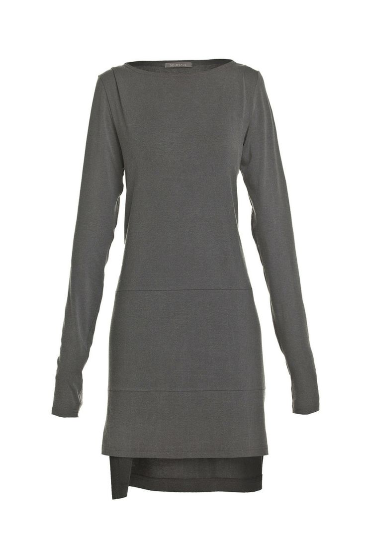 Sukienka szara z dłuższym tyłem | Ubrania \ Sukienki \ Mini Ubrania \ Sukienki \ Asymetryczne Ubrania \ Tuniki Ubrania \ Wszystkie ubrania P...