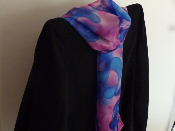 Long handmade silk scarf mysterious woman gift for her by Scarfaki