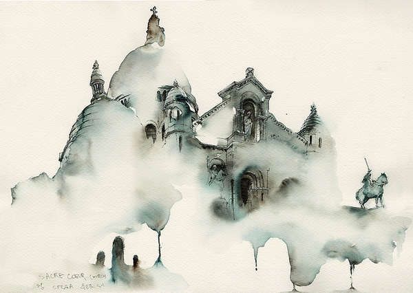 Figmented Architectural Paintings - Artist Sunga Park's architectural paintings in watercolor are elusive and intangible floating in and out of perception. {LOVE!!! ~ Belle}